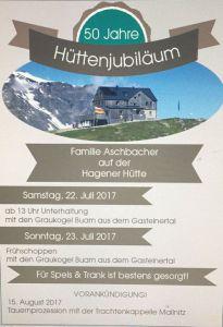 Programm Jubiläumshüttenfeier Hagener Hütte
